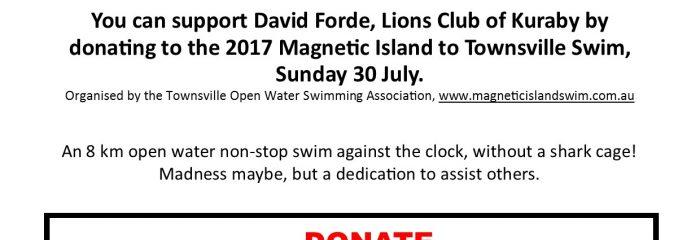 Donate to support David's fundraising swim!